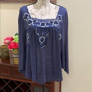 Free People 3/4 Sleeve Embroidered Square Neck L